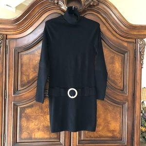 INC. Black Tunic Sweater Dress w/ Gold Oval Buckle